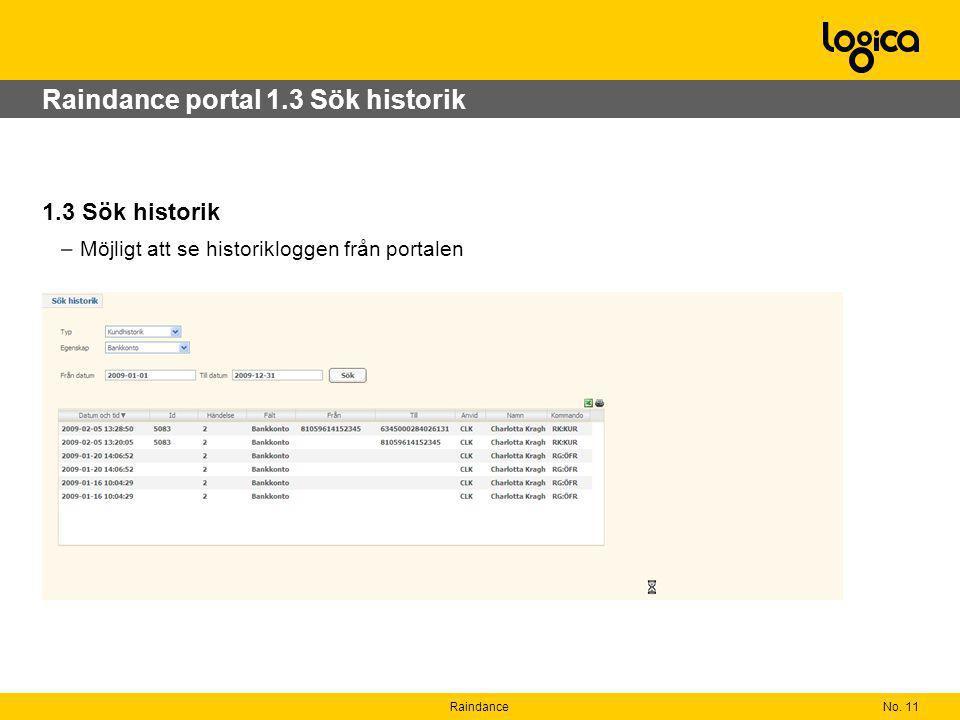 No. 11Raindance Raindance portal 1.3 Sök historik 1.3 Sök historik –Möjligt att se historikloggen från portalen