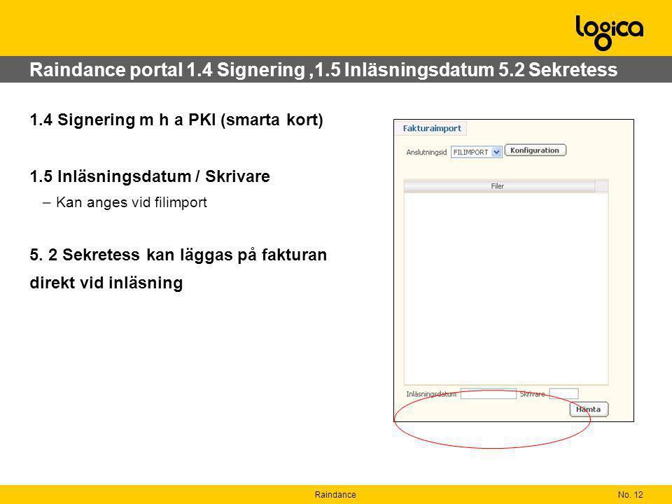 No. 12Raindance Raindance portal 1.4 Signering,1.5 Inläsningsdatum 5.2 Sekretess 1.4 Signering m h a PKI (smarta kort) 1.5 Inläsningsdatum / Skrivare