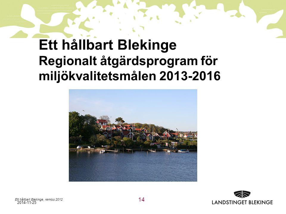 2014-11-25 Ett hållbart Blekinge Regionalt åtgärdsprogram för miljökvalitetsmålen 2013-2016 Ett hållbart Blekinge, remiss 2012 14