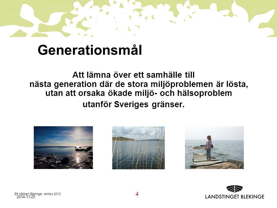 2014-11-25 Ett hållbart Blekinge, remiss 2012 4 Att lämna över ett samhälle till nästa generation där de stora miljöproblemen är lösta, utan att orsaka ökade miljö- och hälsoproblem utanför Sveriges gränser.