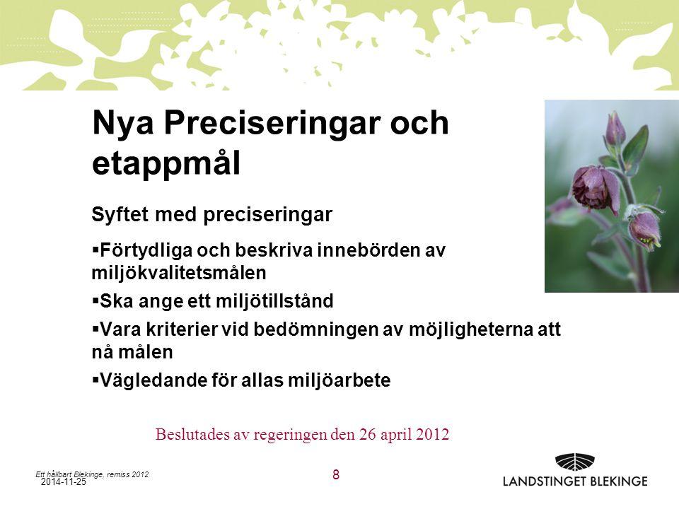 2014-11-25 Nya Preciseringar och etappmål Syftet med preciseringar  Förtydliga och beskriva innebörden av miljökvalitetsmålen  Ska ange ett miljötillstånd  Vara kriterier vid bedömningen av möjligheterna att nå målen  Vägledande för allas miljöarbete Ett hållbart Blekinge, remiss 2012 8 Beslutades av regeringen den 26 april 2012