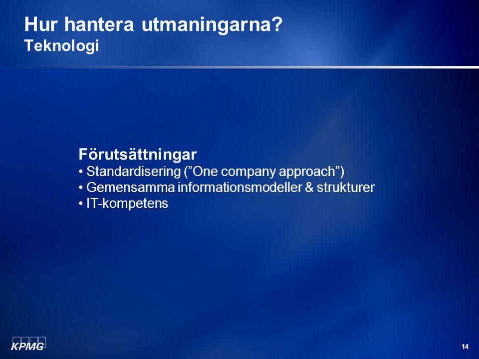 """14 Hur hantera utmaningarna? Teknologi Förutsättningar Standardisering (""""One company approach"""") Gemensamma informationsmodeller & strukturer IT-kompet"""