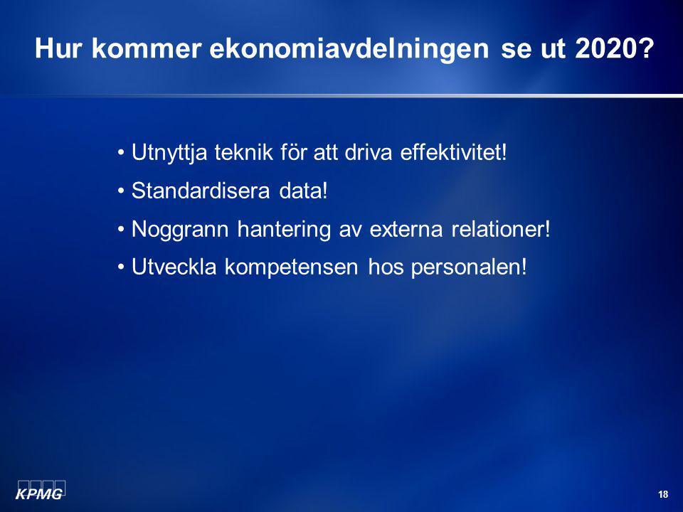 18 Hur kommer ekonomiavdelningen se ut 2020? Utnyttja teknik för att driva effektivitet! Standardisera data! Noggrann hantering av externa relationer!