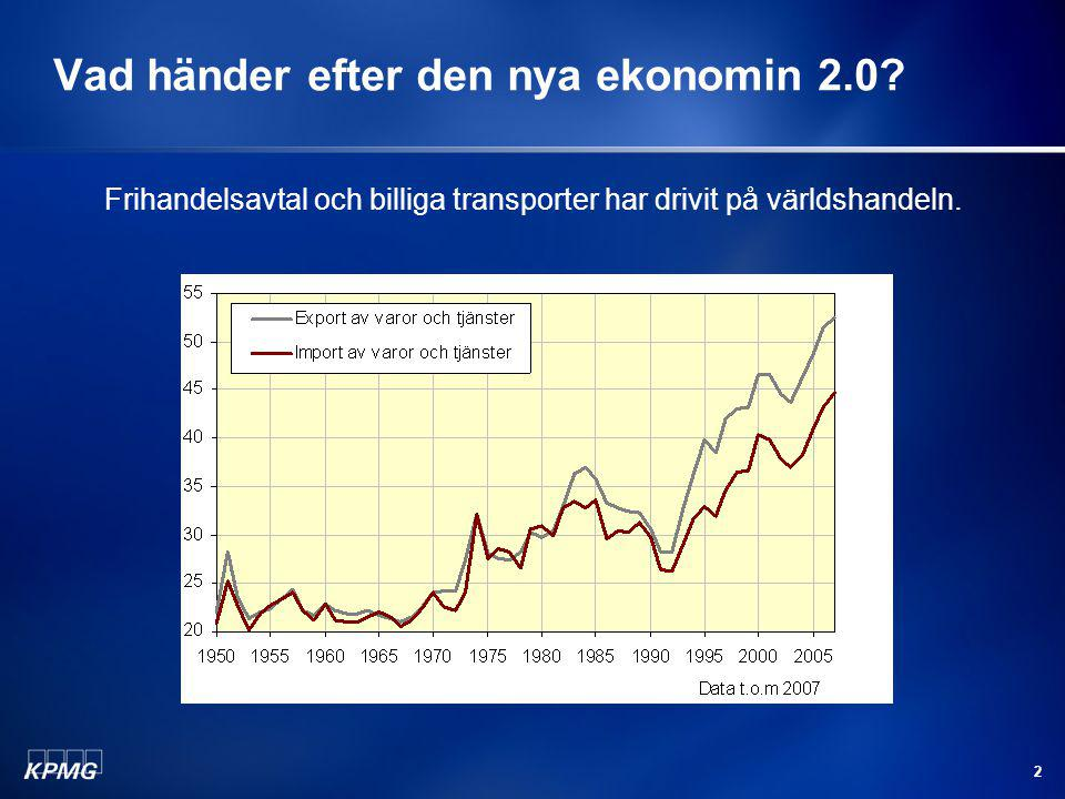 2 Vad händer efter den nya ekonomin 2.0? Frihandelsavtal och billiga transporter har drivit på världshandeln.