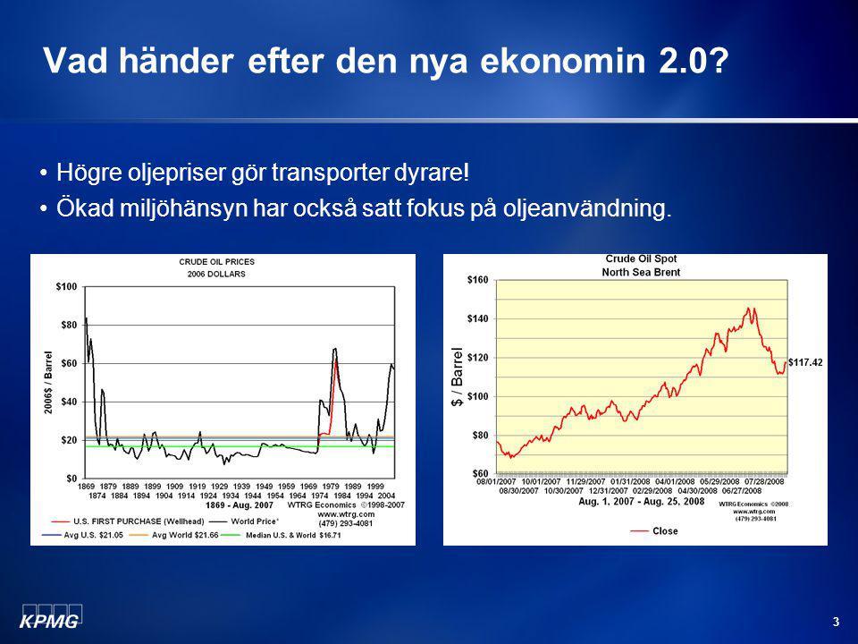 3 Vad händer efter den nya ekonomin 2.0? Högre oljepriser gör transporter dyrare! Ökad miljöhänsyn har också satt fokus på oljeanvändning.