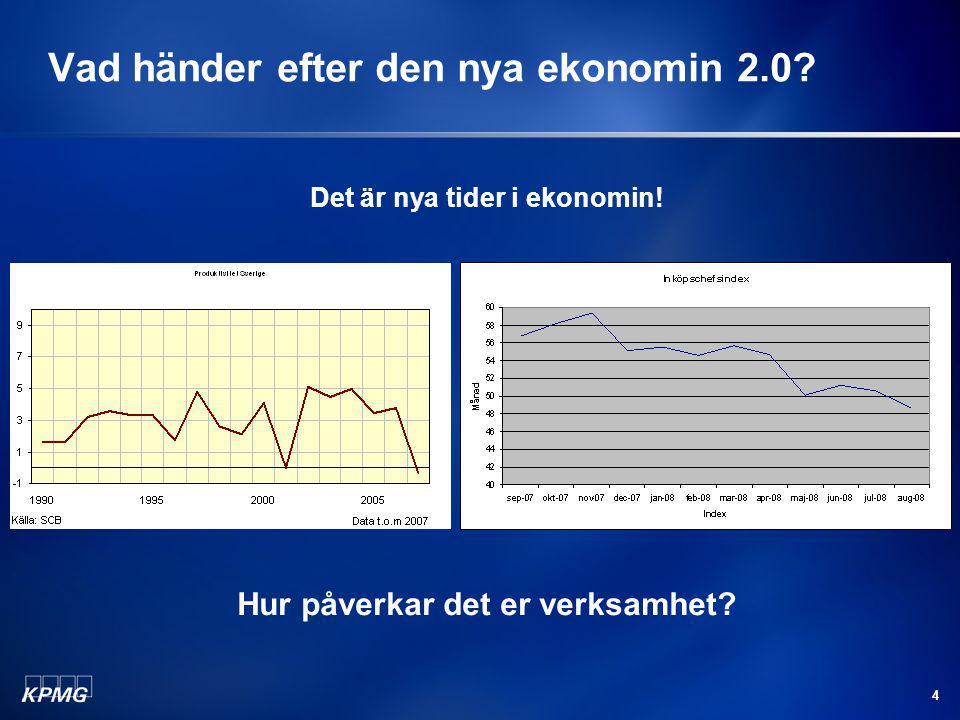4 Vad händer efter den nya ekonomin 2.0? Det är nya tider i ekonomin! Hur påverkar det er verksamhet?