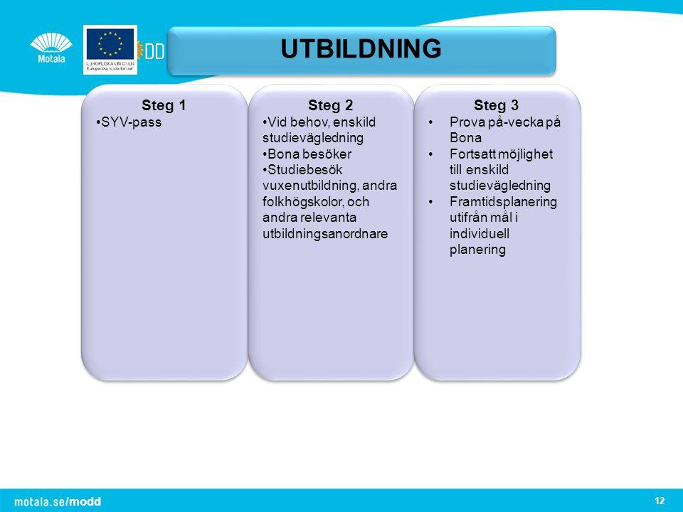 /modd 12 UTBILDNING Steg 1 SYV-pass Steg 1 SYV-pass Steg 2 Vid behov, enskild studievägledning Bona besöker Studiebesök vuxenutbildning, andra folkhög