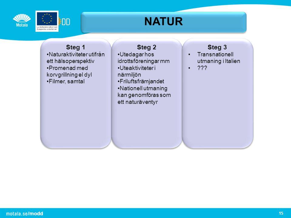 /modd 15 NATUR Steg 1 Naturaktiviteter utifrån ett hälsoperspektiv Promenad med korvgrillning el dyl Filmer, samtal Steg 1 Naturaktiviteter utifrån et