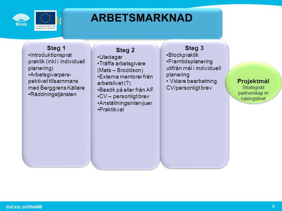 /modd 9 ARBETSMARKNAD Steg 1 Introduktionsprat praktik (inkl i individuell planering) Arbetsgivarpers- pektivet tillsammans med Berggrens Källare Rädd