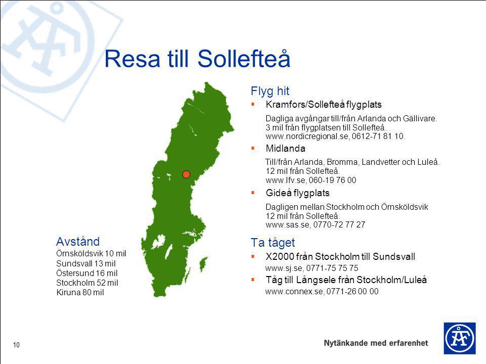 10 Resa till Sollefteå Flyg hit  Kramfors/Sollefteå flygplats Dagliga avgångar till/från Arlanda och Gällivare. 3 mil från flygplatsen till Sollefteå