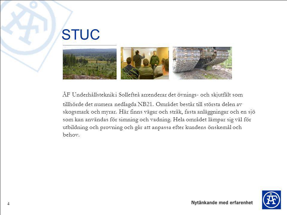 4 STUC ÅF Underhållsteknik i Sollefteå arrenderar det övnings- och skjutfält som tillhörde det numera nedlagda NB21. Området består till största delen