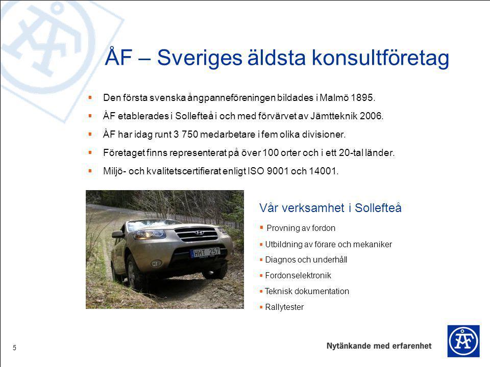 5 ÅF – Sveriges äldsta konsultföretag  Den första svenska ångpanneföreningen bildades i Malmö 1895.  ÅF etablerades i Sollefteå i och med förvärvet