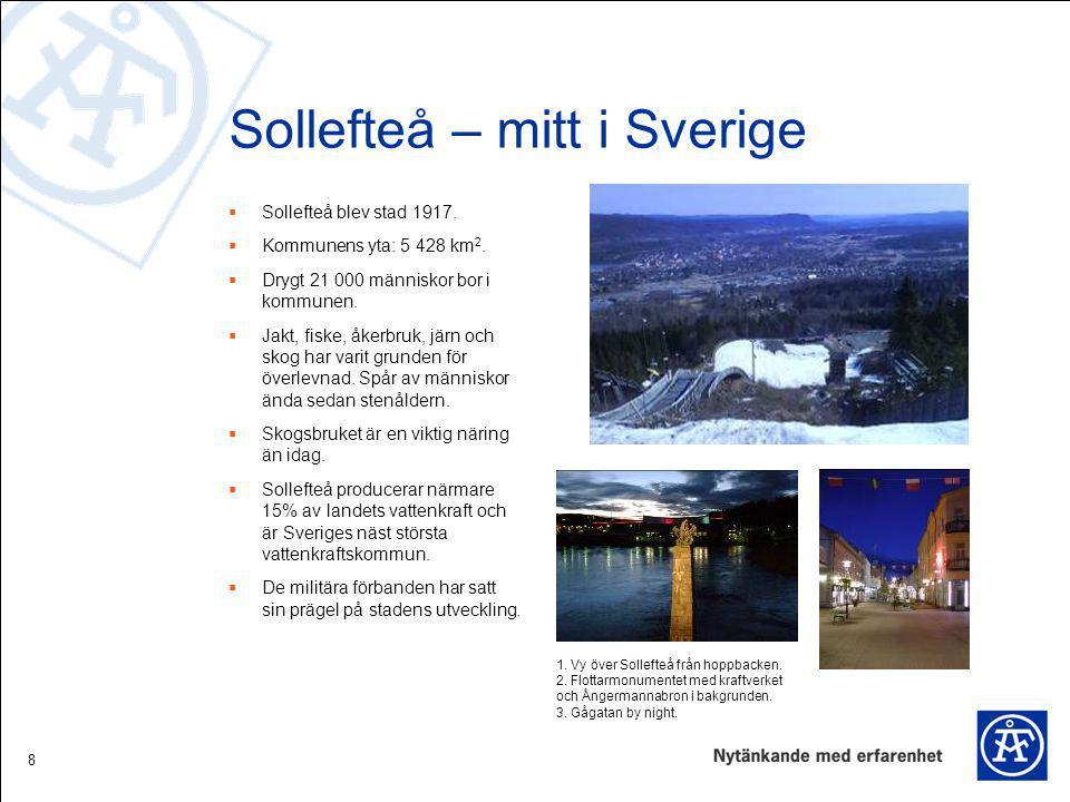 8 Sollefteå – mitt i Sverige  Sollefteå blev stad 1917.  Kommunens yta: 5 428 km 2.  Drygt 21 000 människor bor i kommunen.  Jakt, fiske, åkerbruk
