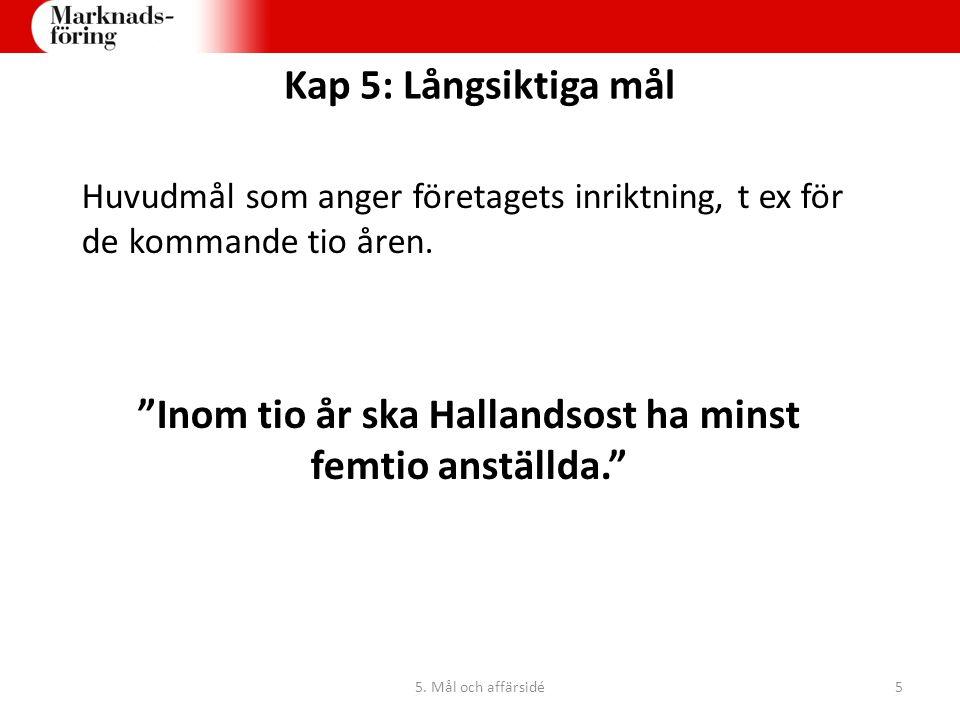 """Huvudmål som anger företagets inriktning, t ex för de kommande tio åren. """"Inom tio år ska Hallandsost ha minst femtio anställda."""" Kap 5: Långsiktiga m"""