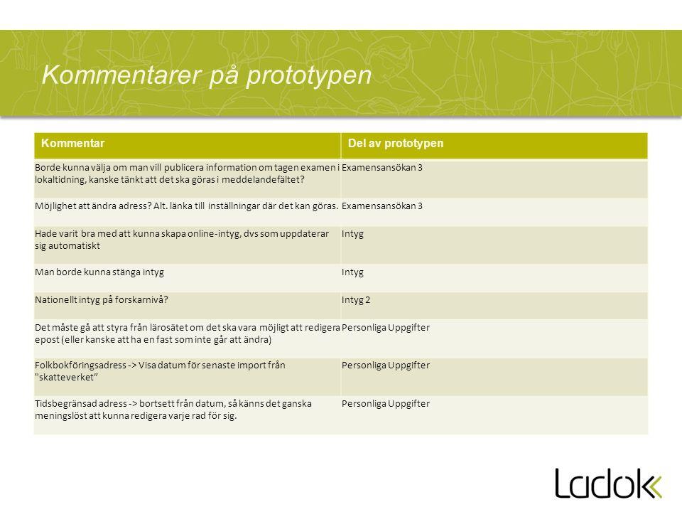 Kommentarer på prototypen KommentarDel av prototypen Borde kunna välja om man vill publicera information om tagen examen i lokaltidning, kanske tänkt