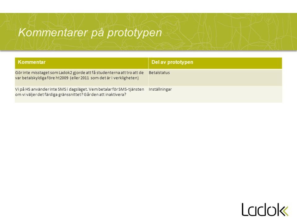 Kommentarer på prototypen KommentarDel av prototypen Gör inte misstaget som Ladok2 gjorde att få studenterna att tro att de var betalskyldiga före ht2