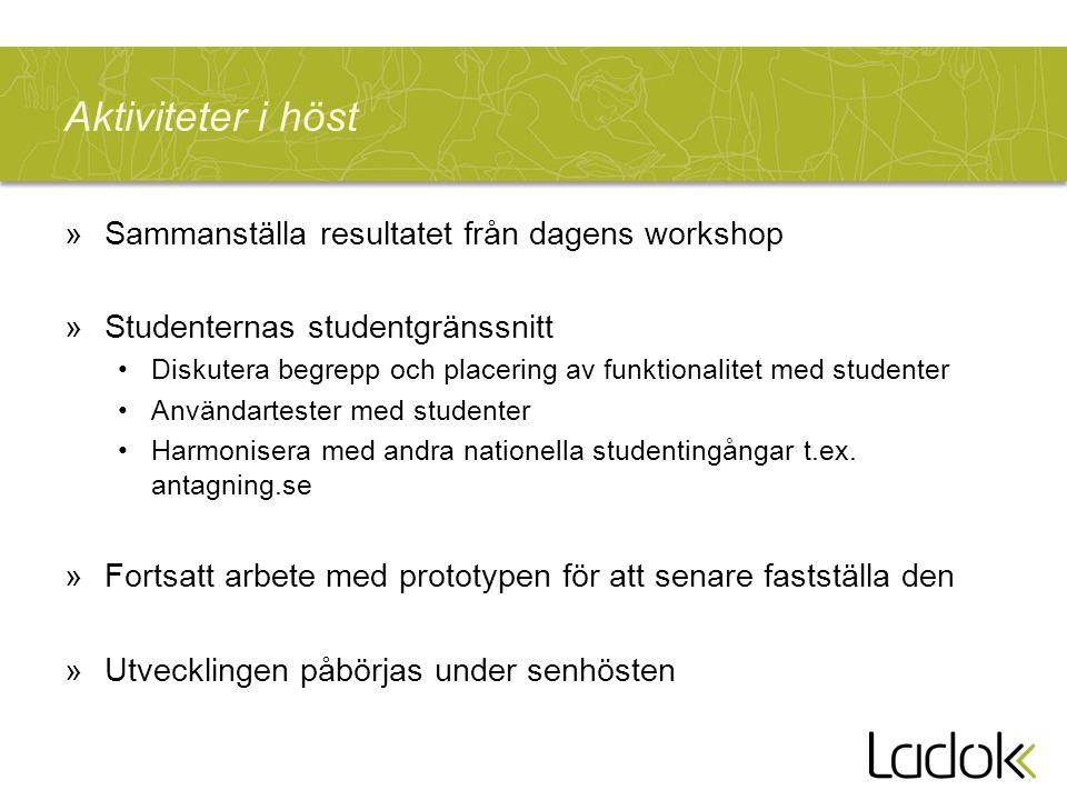 Aktiviteter i höst »Sammanställa resultatet från dagens workshop »Studenternas studentgränssnitt Diskutera begrepp och placering av funktionalitet med