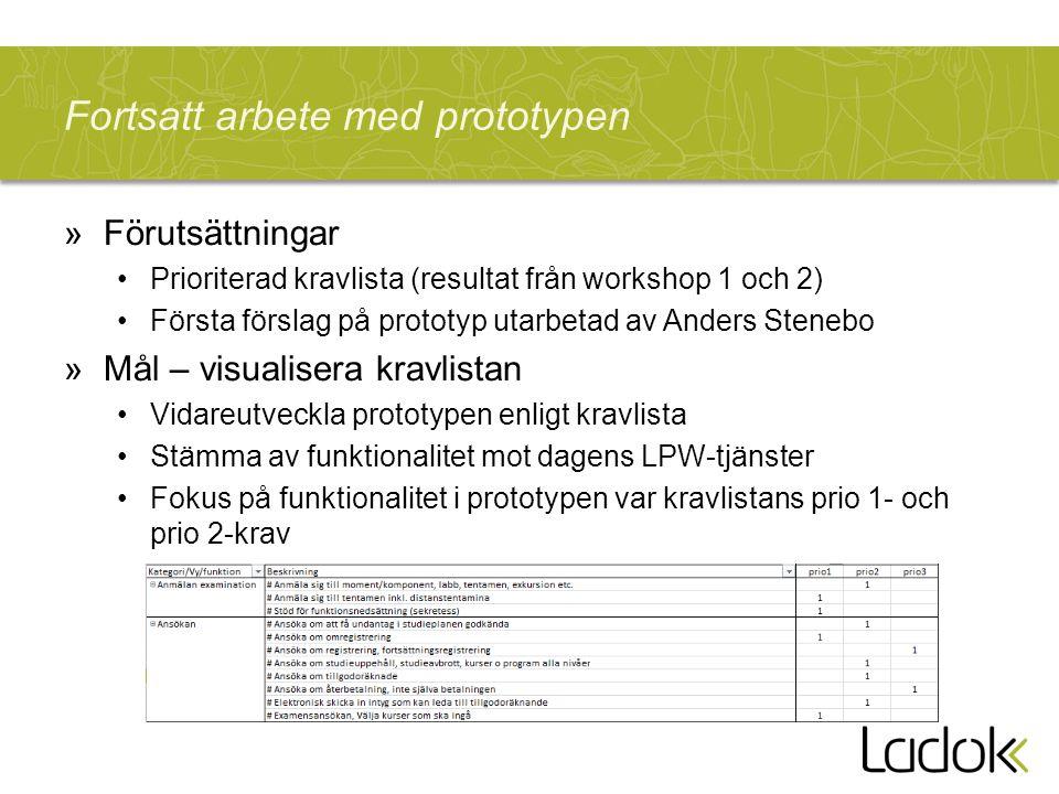 Fortsatt arbete med prototypen »Förutsättningar Prioriterad kravlista (resultat från workshop 1 och 2) Första förslag på prototyp utarbetad av Anders
