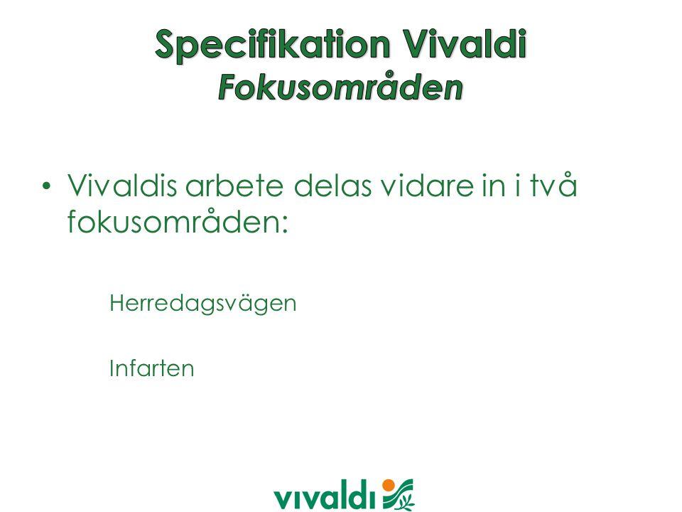 Vivaldis arbete delas vidare in i två fokusområden: Herredagsvägen Infarten