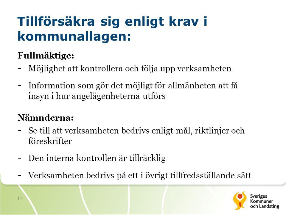 17 Tillförsäkra sig enligt krav i kommunallagen: Fullmäktige: - Möjlighet att kontrollera och följa upp verksamheten - Information som gör det möjligt