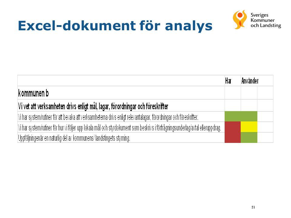 Excel-dokument för analys 21