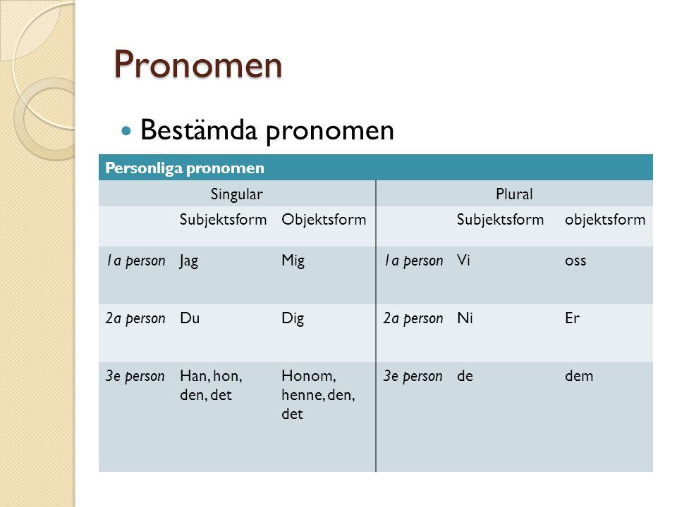 Pronomen Bestämda pronomen Personliga pronomen SingularPlural SubjektsformObjektsformSubjektsformobjektsform 1a personJagMig1a personVioss 2a personDu