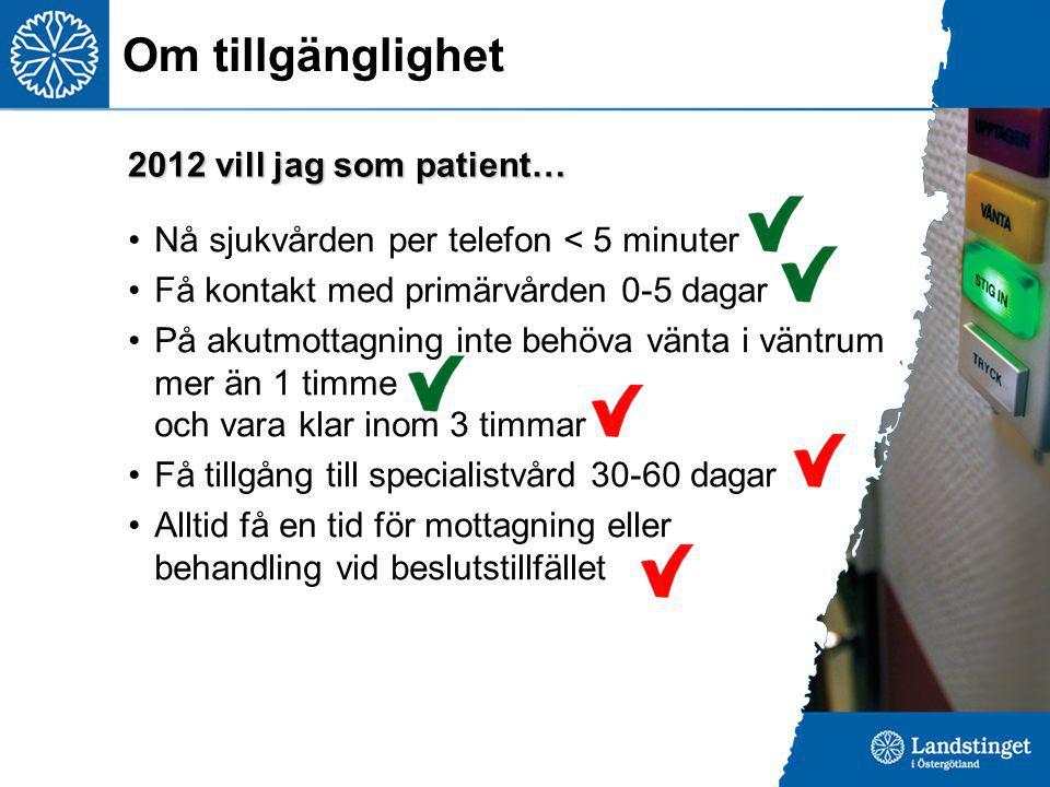 Om tillgänglighet Nå sjukvården per telefon < 5 minuter Få kontakt med primärvården 0-5 dagar På akutmottagning inte behöva vänta i väntrum mer än 1 t