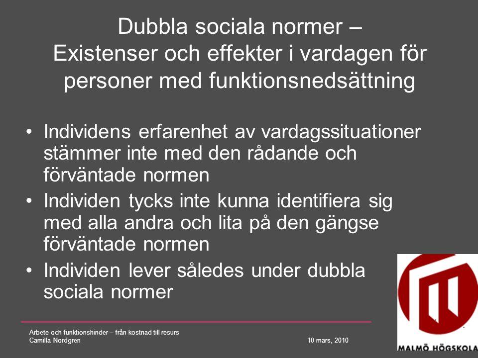 Arbete och funktionshinder – från kostnad till resurs Camilla Nordgren 10 mars, 2010 Dubbla sociala normer – Existenser och effekter i vardagen för pe