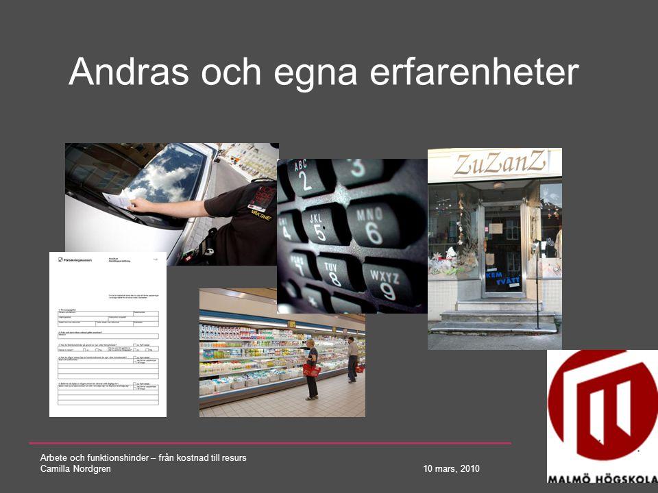 Arbete och funktionshinder – från kostnad till resurs Camilla Nordgren 10 mars, 2010 Andras och egna erfarenheter