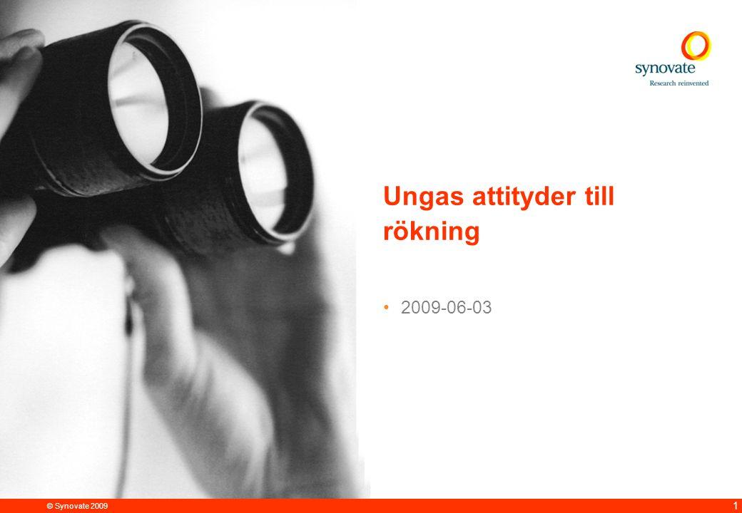 © Synovate 2009 12.00 8.70 5.48 4.63 8.24 5.73 5.27 10.7012.200.50 3.41 2 Om undersökningen Synovate har på uppdrag av Cancerfonden genomfört en undersökning bland ungdomar om deras attityder till rökning.