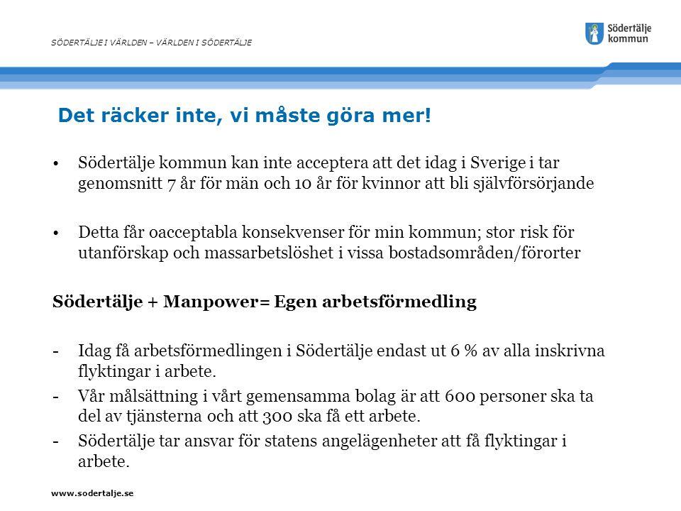 www.sodertalje.se Det räcker inte, vi måste göra mer! SÖDERTÄLJE I VÄRLDEN – VÄRLDEN I SÖDERTÄLJE Södertälje kommun kan inte acceptera att det idag i