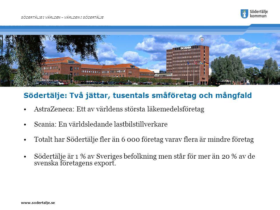www.sodertalje.se Södertälje: Två jättar, tusentals småföretag och mångfald AstraZeneca: Ett av världens största läkemedelsföretag Scania: En världsle