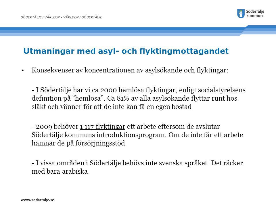 www.sodertalje.se Utmaningar med asyl- och flyktingmottagandet SÖDERTÄLJE I VÄRLDEN – VÄRLDEN I SÖDERTÄLJE Konsekvenser av koncentrationen av asylsöka