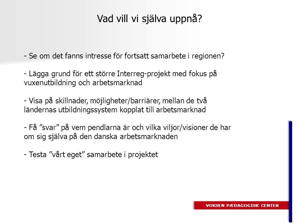 VOKSEN PÆDAGOGISK CENTER Resultat - Potentiella - 96 kvinnor 26 män - 55% ville arbeta inom Vård/Sosu-området - 64% tror att de har stora möjligheter för att få arbete i DK - Främsta skäl att söka sig till DK är högre lön och lätt att få jobb - 85% har tidigare haft arbete i Sverige - 72% kan tänka sig att arbeta i DK mer än tre år - 60% vill byta karriär