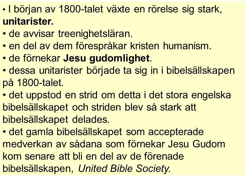 I början av 1800-talet växte en rörelse sig stark, unitarister. de avvisar treenighetsläran. en del av dem förespråkar kristen humanism. de förnekar J