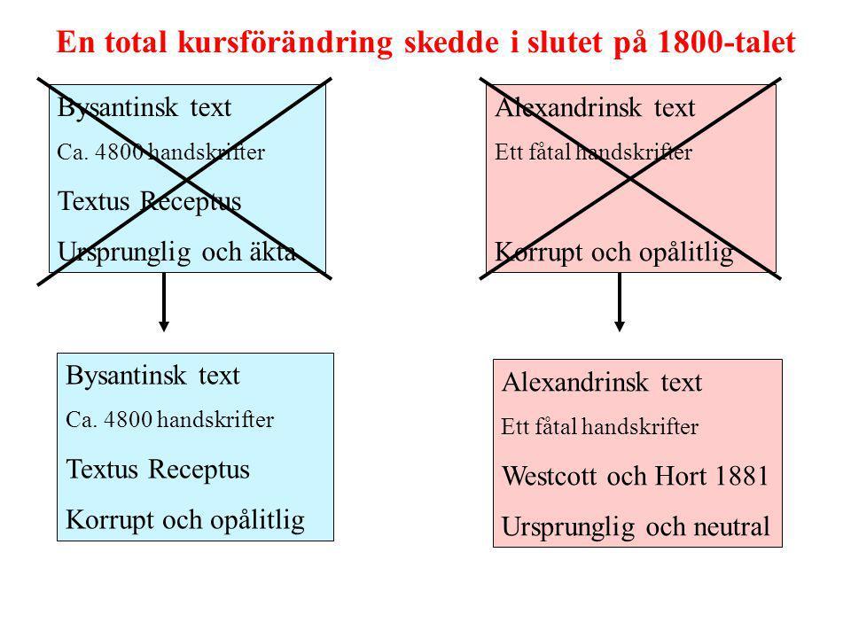 Bysantinsk text Ca. 4800 handskrifter Textus Receptus Ursprunglig och äkta Alexandrinsk text Ett fåtal handskrifter Korrupt och opålitlig En total kur
