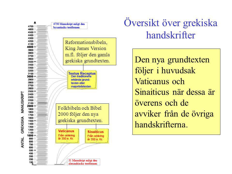 Översikt över grekiska handskrifter Den nya grundtexten följer i huvudsak Vaticanus och Sinaiticus när dessa är överens och de avviker från de övriga