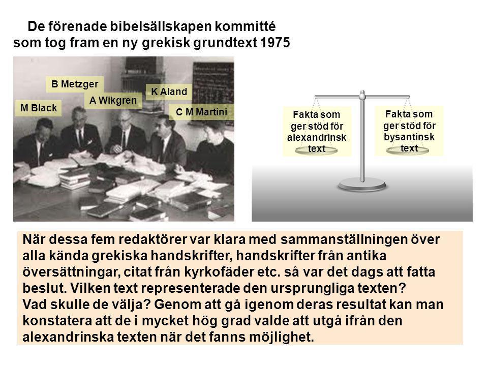 M Black K Aland C M Martini B Metzger A Wikgren De förenade bibelsällskapen kommitté som tog fram en ny grekisk grundtext 1975 Fakta som ger stöd för