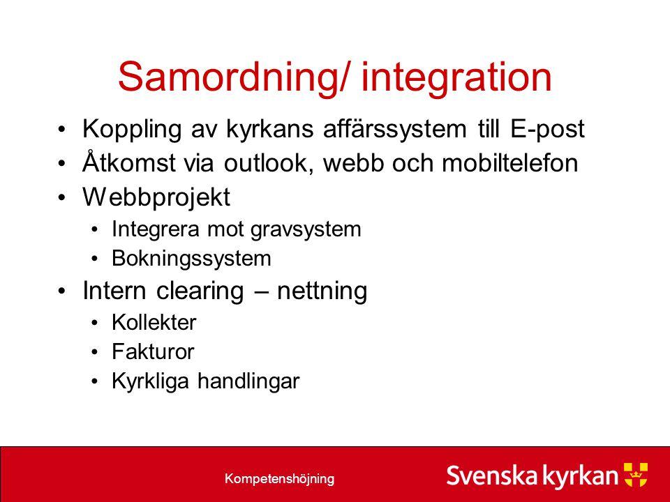 Kompetenshöjning Samordning/ integration Koppling av kyrkans affärssystem till E-post Åtkomst via outlook, webb och mobiltelefon Webbprojekt Integrera