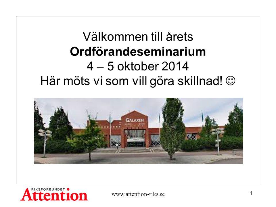 Välkommen till årets Ordförandeseminarium 4 – 5 oktober 2014 Här möts vi som vill göra skillnad.
