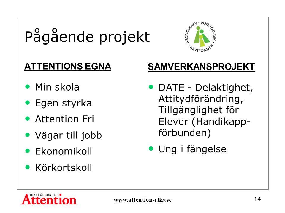 Pågående projekt ATTENTIONS EGNA Min skola Egen styrka Attention Fri Vägar till jobb Ekonomikoll Körkortskoll SAMVERKANSPROJEKT DATE - Delaktighet, Attitydförändring, Tillgänglighet för Elever (Handikapp- förbunden) Ung i fängelse www.attention-riks.se 14