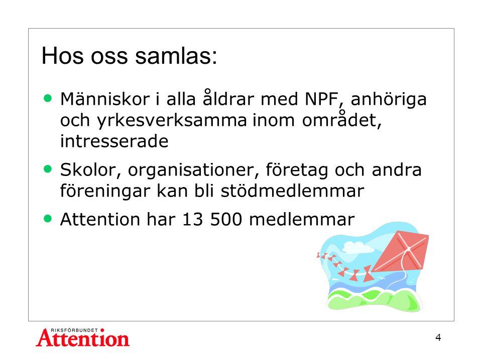 Hos oss samlas: Människor i alla åldrar med NPF, anhöriga och yrkesverksamma inom området, intresserade Skolor, organisationer, företag och andra föreningar kan bli stödmedlemmar Attention har 13 500 medlemmar 4