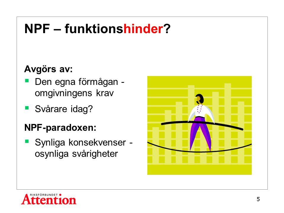 NPF – funktionshinder. Avgörs av:  Den egna förmågan - omgivningens krav  Svårare idag.