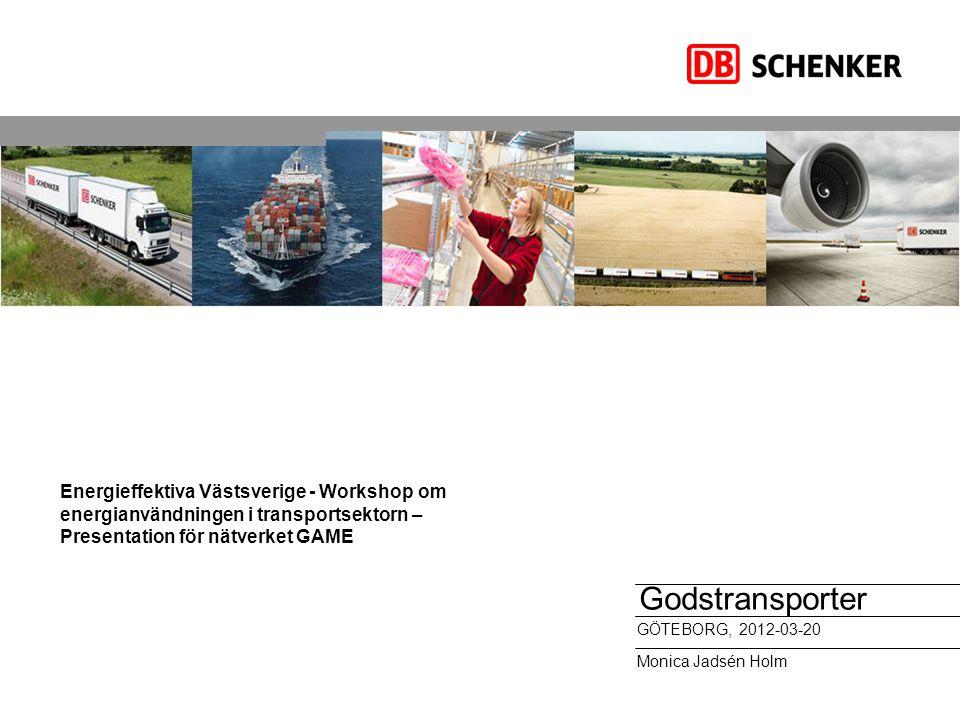 Energieffektiva Västsverige - Workshop om energianvändningen i transportsektorn – Presentation för nätverket GAME Godstransporter GÖTEBORG, 2012-03-20
