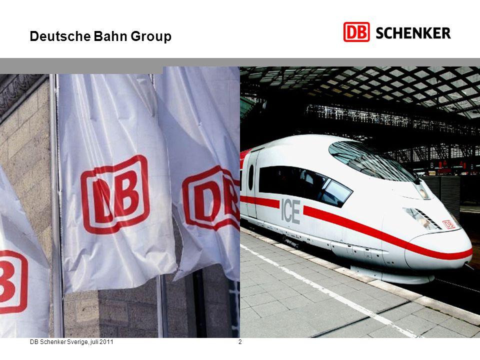 3DB Schenker Sverige, juli 2011 3 1) Inget eget affärsområde från och med januari 2011, ingår nu i DB Regional: 2) Helt konsoliderat från 1 sep, 2010 (förutom Arriva Germany); 3) Skillnad mellan totalsumman för affärsområden och DB-koncernen beror på konsoliderings- och andra effekter Intäkter 2010 i € miljoner EBIT 2010 i € miljoner DB Schenker Rail DB Schenker Logistics DB Bahn Long Distance DB Bahn Regional DB Bahn Urban 1) DB Netze Energy DB Netze Track DB Netze Stations 3) DB Services 34 4101 866 DB Arriva 2) 7 559 1 272 1 046 4 580 1 044 2 501 4 584 14 310 1 274 3 729 2010 genererade DB Schenker 18,9 miljarder euro av den totala intäkten