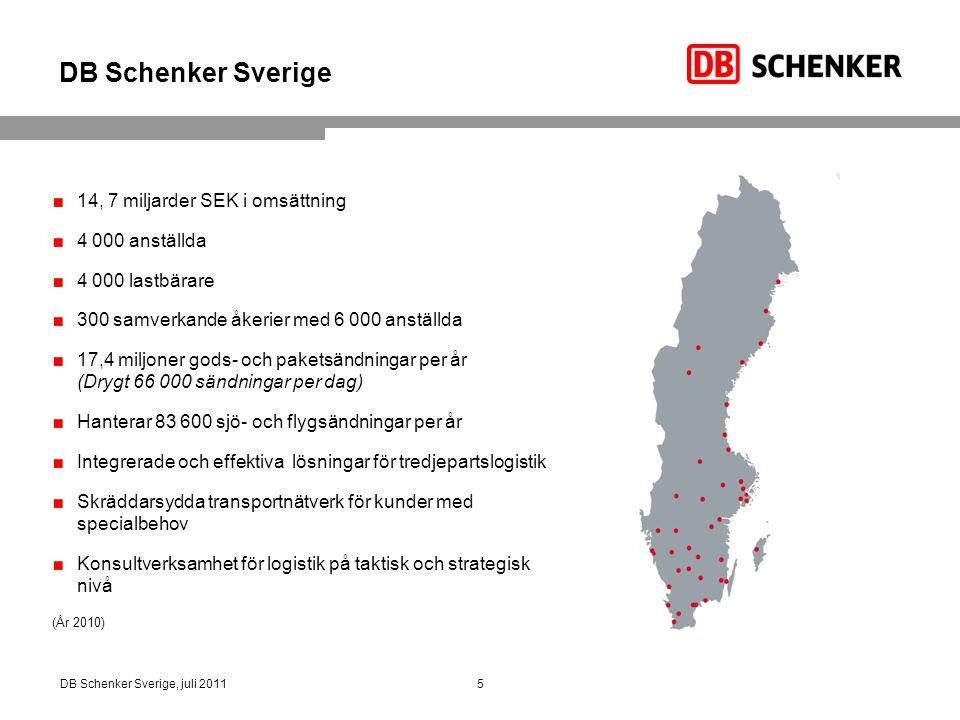 6DB Schenker Sverige, juli 2011 6 Värdeskapande tjänster Key account management Kundanpassade transportlösningar från dörr till dörr, track-and-trace Supply chain management DB Schenker erbjuder integrerade logistikkedjor