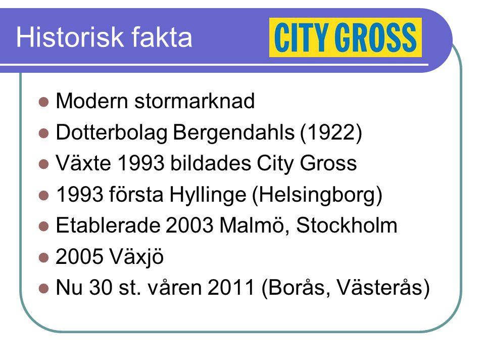 Historisk fakta Modern stormarknad Dotterbolag Bergendahls (1922) Växte 1993 bildades City Gross 1993 första Hyllinge (Helsingborg) Etablerade 2003 Malmö, Stockholm 2005 Växjö Nu 30 st.