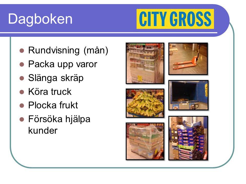 Dagboken Rundvisning (mån) Packa upp varor Slänga skräp Köra truck Plocka frukt Försöka hjälpa kunder