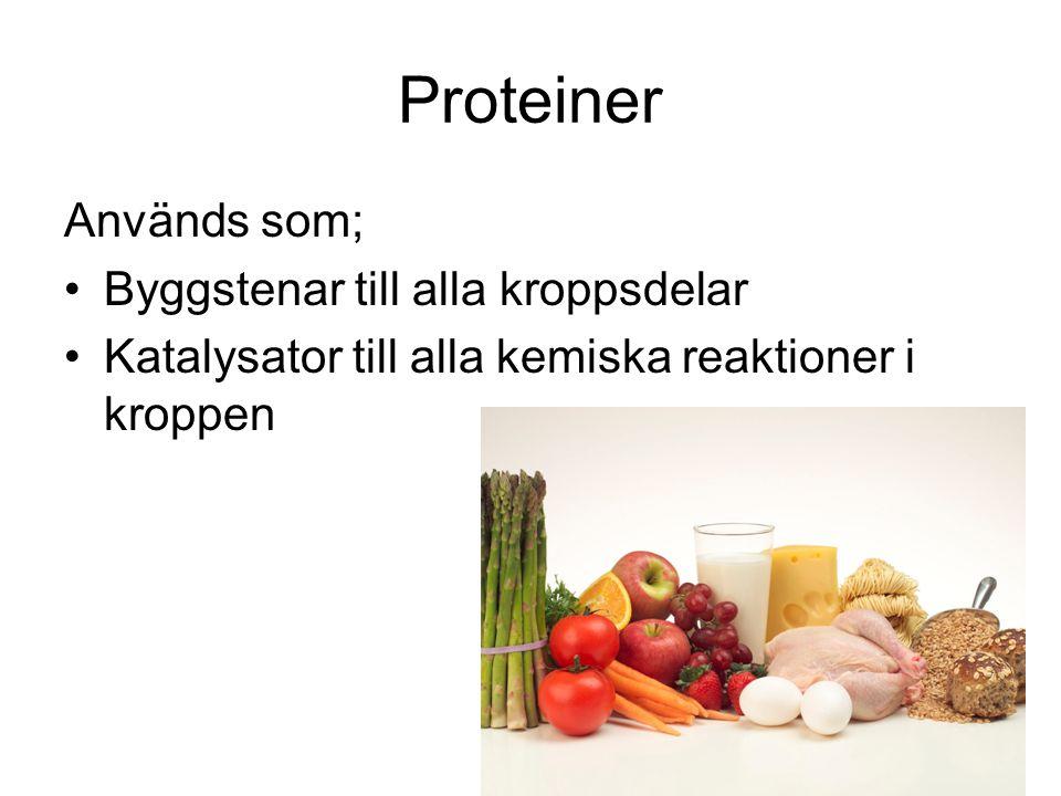 Proteiner Används som; Byggstenar till alla kroppsdelar Katalysator till alla kemiska reaktioner i kroppen