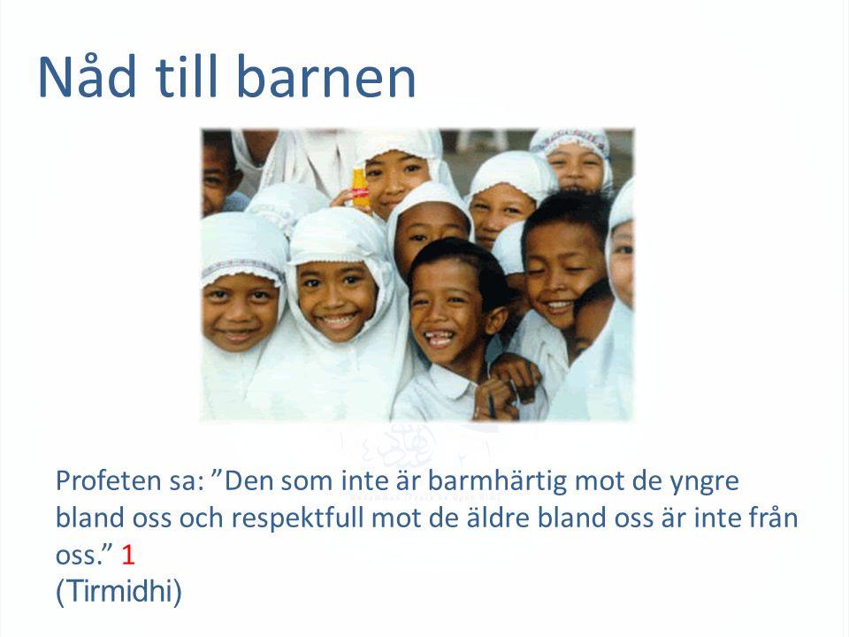 Nåd till barnen Profeten sa: Den som inte är barmhärtig mot de yngre bland oss och respektfull mot de äldre bland oss är inte från oss. 1 (Tirmidhi)